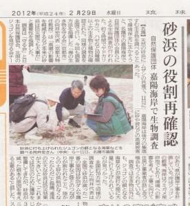 沖縄県嘉陽海岸砂浜調査20120211